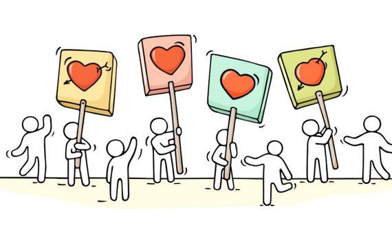 Cartoon mensen houden hartjes omhoog
