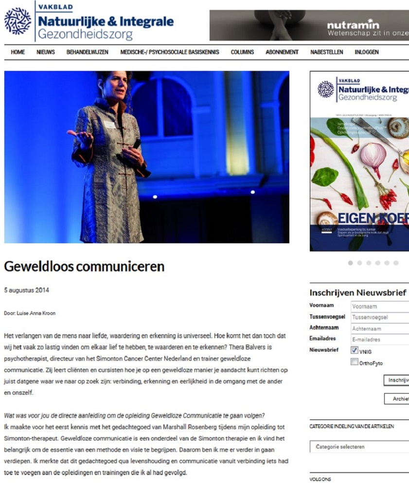 Artikel in de vnig over Geweldloze Communicatie